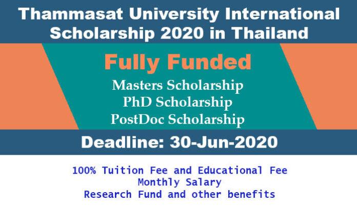 Thammasat University International Scholarship 2020 in Thailand