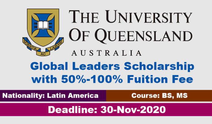 University of Queensland Global Leaders Scholarship 2020 in Australia