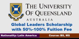 University of Queensland Global Leaders Scholarship 2021 in Australia