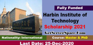 Harbin Institute of Technology Scholarship by Chinese Government 2021