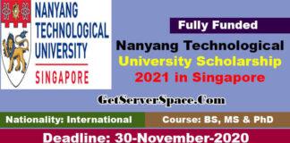 Nanyang Technological University Scholarship 2021 in Singapore [Fully Funded]