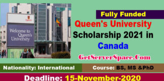Queen's University Scholarship 2021 in Canada For International Students [Fully Funded]