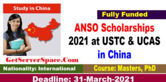 ANSO Scholarships 2021 in China for Masters & PhD [Fully Funded]