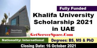 Khalifa University Scholarships 2022 in UAE [Fully Funded]