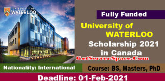 University of WATERLOO Scholarship 2021 in Canada For BS, MS & PhD [Fully Funded]