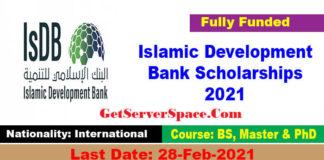 Islamic Development Bank Scholarships 2021 For Foreigner's [Fully Funded]