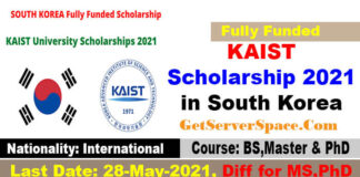 KAIST Scholarship 2021 in South Korea For International Students [Fully Funded]