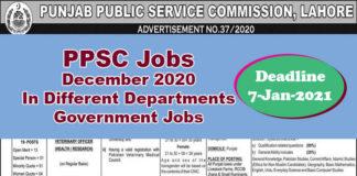 PPSC Latest Jobs December 2020 In Different Departments[Govt-Jobs]