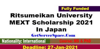 Ritsumeikan University MEXT Scholarship 2021 In Japan[Fully Funded]