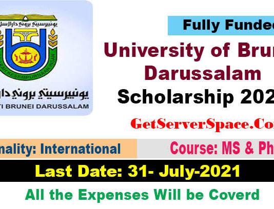 University of Brunei Darussalam Scholarship 2021 For MS & PhD