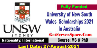 University of New South Wales Graduate Scholarships 2021 In Australia