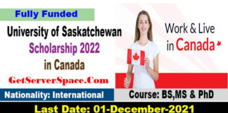 University of Saskatchewan Scholarship 2022 in Canada [Fully Funded]