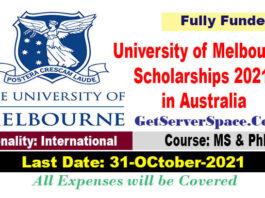 600 University of Melbourne Graduate Scholarships 2021 in Australia