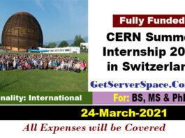CERN Summer Internship Program in Switzerland 2021[Fully Funded]