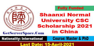 Shaanxi Normal University CSC Scholarship 2021 in China for MS and PhD[Fully Funded]