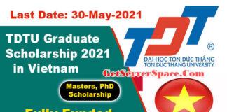 TDTU International Graduate Scholarship 2021 in Vietnam[Fully Funded]