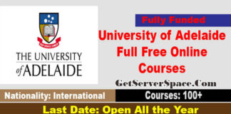 University of Adelaide Full Free Online Courses 2021 For Students