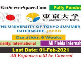 University of Tokyo Summer Internship 2021 in Japan[Fully Funded]