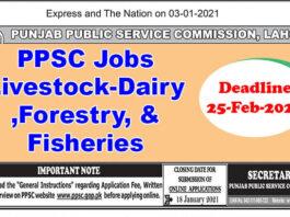 PPSC Jobs Livestock-Dairy Development &Forestry, & Fisheries Department