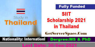 SIIT Scholarship 2021 in Thailand Fully Funded