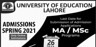 University of Education Lahore Spring Admissions 2021 in All Campuses