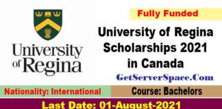 University of Regina Scholarships 2021 in Canada [Fully Funded]