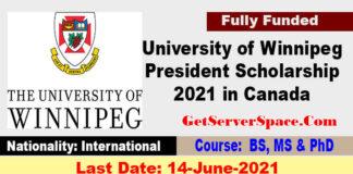 University of Winnipeg President Scholarship 2021 in Canada Fully Funded