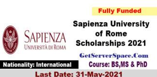 Sapienza University of Rome Scholarships 2021 Fully Funded