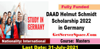 DAAD Helmut Schmidt Scholarship 2022 in Germany [Fully Funded]