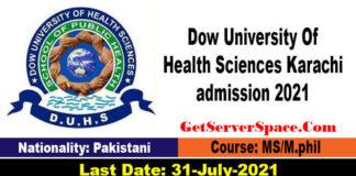 Dow University Of Health Sciences Karachi admission 2021
