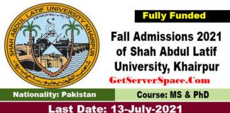 Fall Admissions 2021 of Shah Abdul Latif University Khairpur,