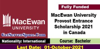 MacEwan University Provost Entrance Scholarship 2021 in Canada