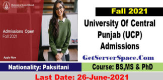 University Of Central Punjab (UCP), Lahore Admissions 2021