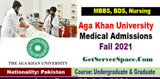 Aga Khan University Medical Admissions Fall 2021