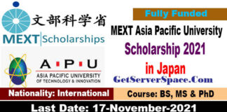 MEXT Asia Pacific University Scholarship 2022 in Japan Fully Funded