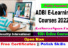 ADBI E-Learning Courses 2022 with Free Certificates