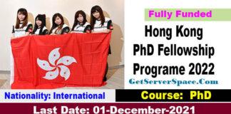 Hong Kong PhD Fellowship Scheme 2022-23 Fully Funded