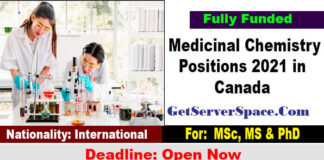 Medicinal Chemistry Positions 2021 in Canada for MSc, PhD