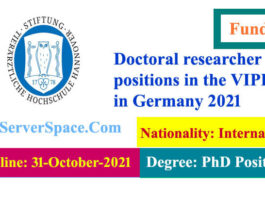 Doctoral researcher positions in the VIPER in Germany 2021