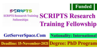 SCRIPTS Research Training Fellowships for Ph.D. students (Funded)