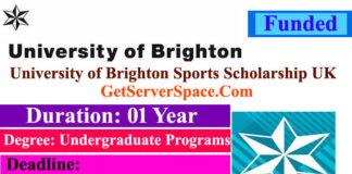 University of Brighton Sports Scholarship UK 2022