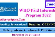 World Health Organization Paid Internship Program 2022