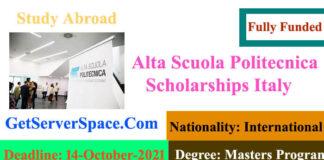 Alta Scuola Politecnica Fully Funded Scholarships Italy 2021-22