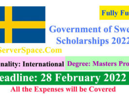 Government of Sweden Fully Funded Scholarships 2022