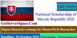 National Fully Funded Scholarship of the Slovak Republic 2021