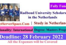 Radboud University Fully Funded Scholarship in the Netherlands 2022