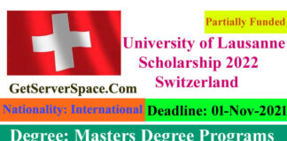 University of Lausanne Funded Scholarship 2022 Switzerland